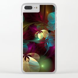 Floral Dancers Colorful Abstract Fractal Art Clear iPhone Case