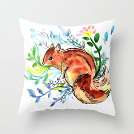 Cute Korea squirrel in sping flowers Throw Pillow