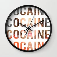 lindsay lohan Wall Clocks featuring LINDSAY LOHAN - COCAINE by Beauty Killer Art
