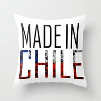 chile Throw Pillows featuring Made In Chile by VirgoSpice