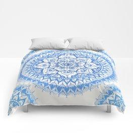 Yin Yang Mandala in Soft Blues Comforters
