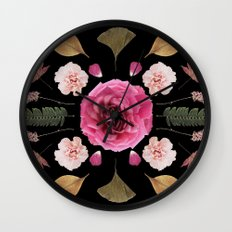 BOTANICAL COLLAGE N1 BLACK BACKGROUND Wall Clock
