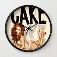 cake Wall Clocks featuring CAKE  by Helen Green