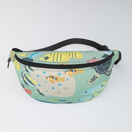 Underwater World with Coral Reef Animals Fanny Pack