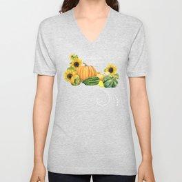 Celebrate Abundance Fall Harvest Sunflower Pumpkin Squash Art Unisex V-Neck