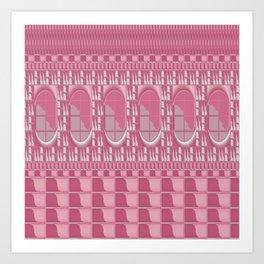 Rose Pink Geometric Abstract Art Print