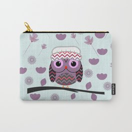 Owl in floral rain Carry-All Pouch