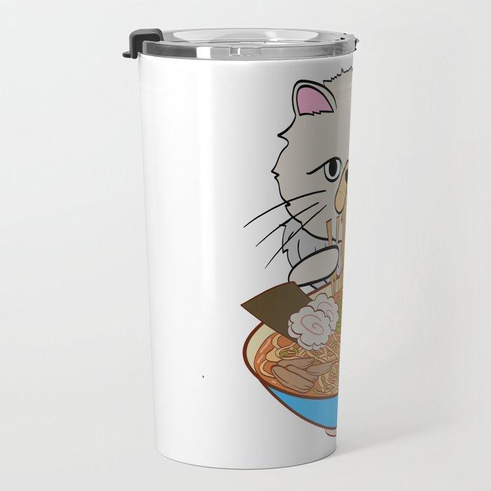 Cats Eating Noodles Out Of A Ramen Bowl T-shirt Design Kitty Kitten Meow Animals Pet Animal Hot Travel Mug