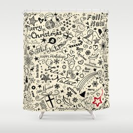 Merry Christmas Multiple languages Shower Curtain