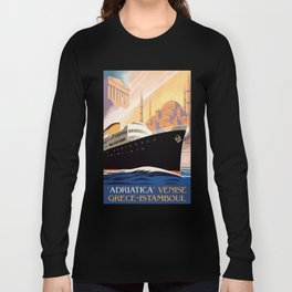Venice Greece Istanbul shipping line retro vintage ad Long Sleeve T-shirt