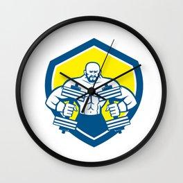 Bodybuilder Lifting Dumbbell Shield Retro Wall Clock
