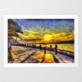 Sunset Fishing Istanbul Van Gogh Art Print