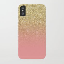 Modern gold ombre pink color block iPhone Case