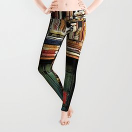 Library with books door entrance Leggings