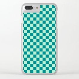 Magic Mint Green and Teal Green Checkerboard Clear iPhone Case