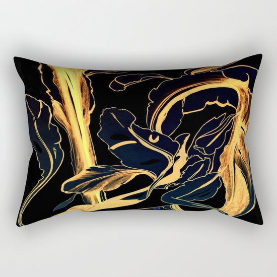 Plant in Blue Marker - Leaf of Life Miracle Leaf - Black and Gold Rectangular Pillow