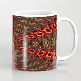 Red, Green And Gold Kaleidoscopic Abstract Coffee Mug