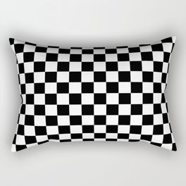 White and Black Checkerboard Rectangular Pillow