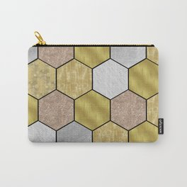 Golden honeycomb on black geometric Carry-All Pouch