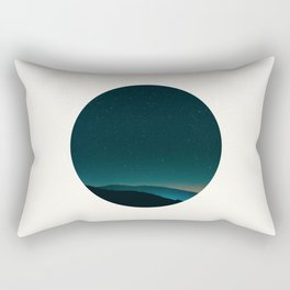 Mid Century Modern Round Circle Photo Graphic Design Minimal Night Sky With Mountain Silhouette Rectangular Pillow