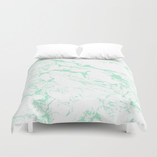 Trendy Modern Pastel Mint Green White Marble Pattern By