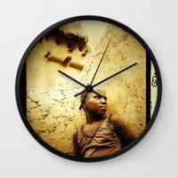 africa Wall Clocks featuring Africa by Araceli Segarra