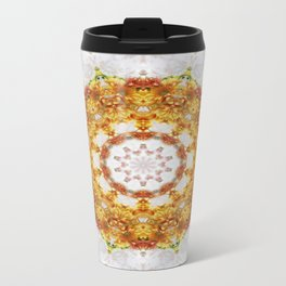 Gold Chrysanthemum Kaleidoscope Art 5 Travel Mug