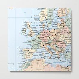 World Map Europe Metal Print
