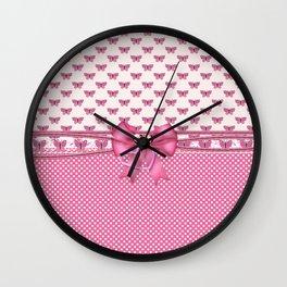 Dreamy Pink Butterflies Wall Clock