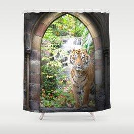 Jungle Tiger Waterfall Shower Curtain