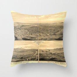 Vintage Bird's Eye Map Illustration - Los Angeles, California (1877) Throw Pillow
