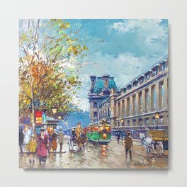 Along the Louvre, Paris, France by Antone Blanchard Metal Print