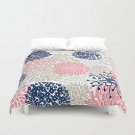 Floral Mixed Blooms, Blush Pink, Navy Blue, Gray, Beige Duvet Cover