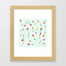 Pattern of tulips. Tulips scattered on the web Framed Art Print