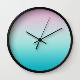 Pastel Ombre Pink Blue Teal Gradient Pattern Wall Clock