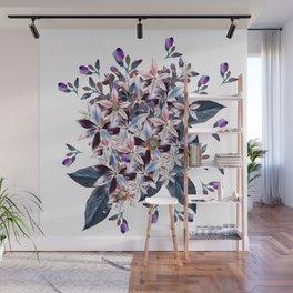 Beautiful watercolor flowers. Blue morning filed Wall Mural