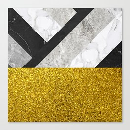 No First, No Last - metal geometric art, grey marble gradient and golden shimmer Canvas Print
