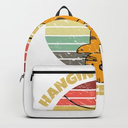 Hangin' in There Since 1987 Cute Kitty Cat Retro Sunset Backpack