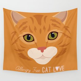 Allergy Free Cat Love: Ginger Tabby Wall Tapestry
