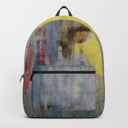 Rainy Day Grey, Rain, Water, Car, Abstract, Blue, Painting by Jodi Tomer Backpack