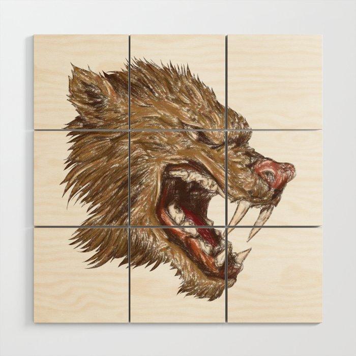 Head with sharp teeth Wood Wall Art