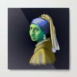 Alien With A Pearl Earring Metal Print