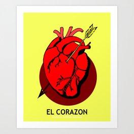 El Corazon Mexican Loteria Pop Art Art Print