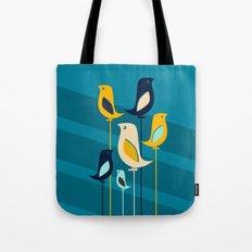Mid Century Birds Blue Tote Bag
