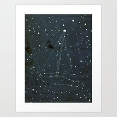 Constellation Sail Boat Art Print
