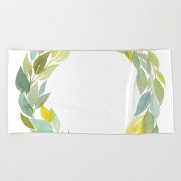 Green and Leafy Watercolor Wreath Beach Towel
