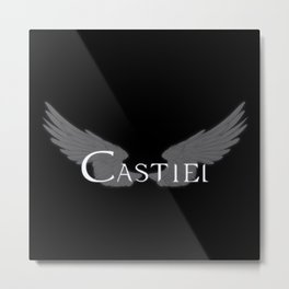 Castiel with Wings White Metal Print
