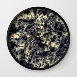 Black and White Lilac Flower Modern Cottage Art A426 BW Wall Clock
