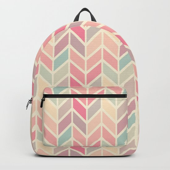Pastel Chevron Geometric Pattern Backpack
