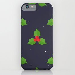 Red Christmas Mistletoe Pattern iPhone Case